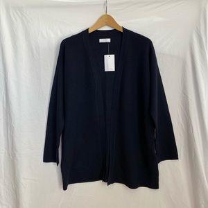Oak + Fort Navy Blue Textured Long Open Cardigan